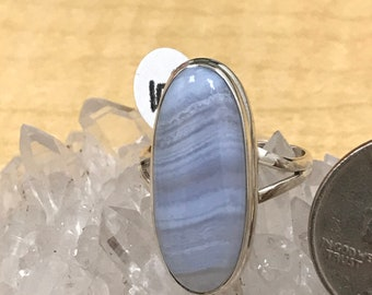 Blue Lace Agate Ring Size 10 1/2