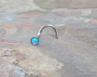 Pale Light Blue Fire Opal Nose Ring Stud