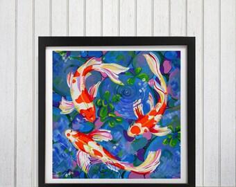 Koi Fish Art Print, Brightly colored wall decor, Koi Fish home decor, Koi fish, Gold fish, Koi fish painting