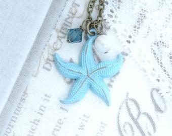Aqua Beach Necklace Starfish Necklace Nautical Pendant Necklace Beach Wedding Starfish Gift