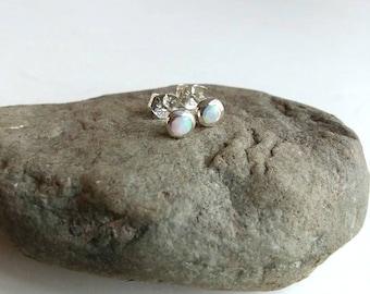 Sterling Cultured Opal Stud Earrings