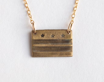 DC Necklace - Washington Jewelry - Washington DC Necklace - DC Flag - State Necklace - District of Columbia Art - District of Columbia Gift