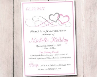 "Heart Bridal Shower Invitation Template - Heart Wedding Shower Template ""Entwined Hearts"" Silver Gray Pink Lily Shower Invitation Download"