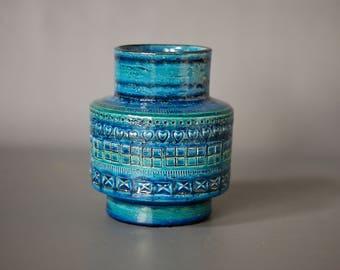 BITOSSI Rimini Blu Large Vase, Designed by Aldo Londi, Bitossi Blue Vase, Made in Italy, Classic Mid Century Modern Italian Ceramics