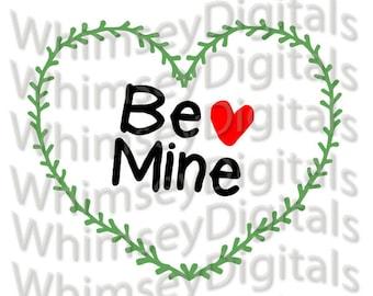 Be Mine Heart Vine Wreath SVG Digital Download Cut File, HTV Design, Valentine Wall Decor, svg, png, scrapbooking