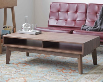 Mid-Century Solid Walnut Coffee Table - Ventura Surround Table - Available in other woods