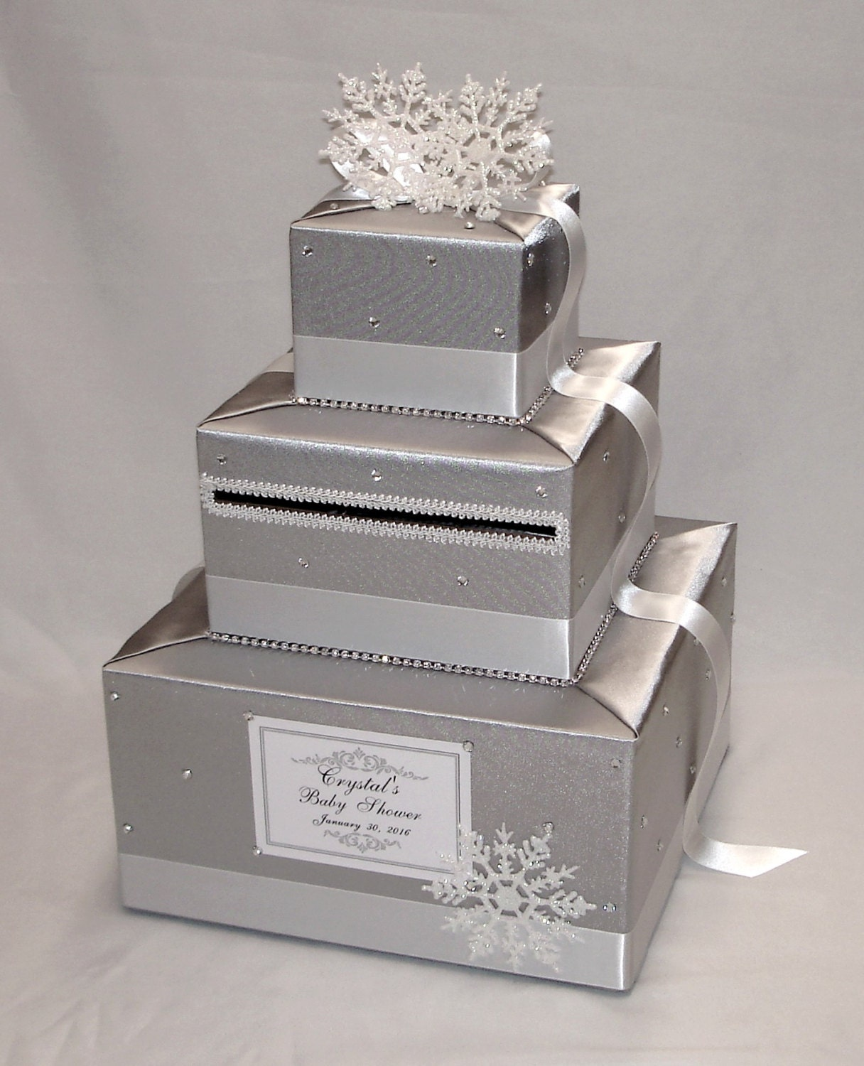 Winter Wonderland/Snowflake Theme Card Box-Silver And