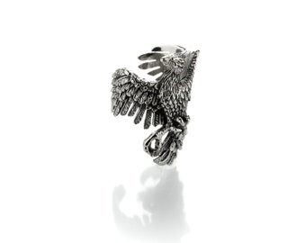 Phoenix Ring  Phoenix bird mythology Phoenix bird  Phoenix rising Animal nature Signet ring solid Bird rings Gift for man Phoenoix rings