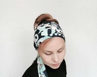 Graffiti Long Head Scarf for Women , Summer Head Wrap , Beach Yoga Hair Accessory , Bright Swag Headwear, Bohemian Headband , Boho HeadScarf