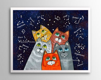 Stargazing Cats – Counting Stars | Art Print | Whimsical Cats Counting the Stars
