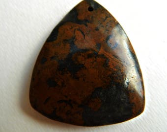 Deep Rust color , Ironstone , jasper, trapezeoid Triangle agate pendant supply