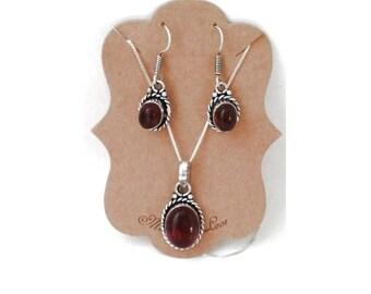 Sale Ruby Quartz Artisan Pendant and Matching Earrings