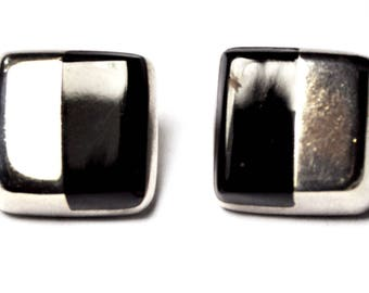 Sterling Silver Black Onyx Modernist Square Pierced Piano Key Earrings 18mm