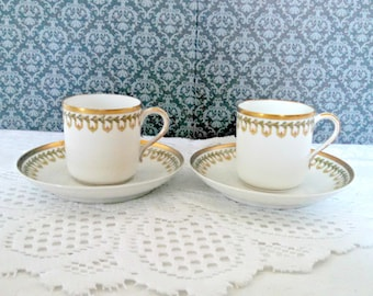 Vintage Haviland Demitasse Cups and Saucers, Set of 2, Limoges Porcelain, Laurel Leaves with Gold Trim, NeoClassical, Circa 1920s