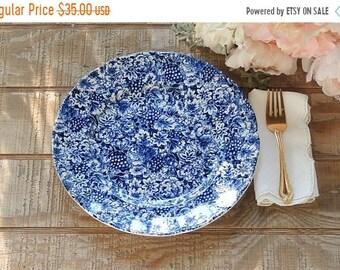ON SALE W.H. Grindley Promesse English Transferware Dinner Plate Blue White, Cake Plate Blue White Transferware