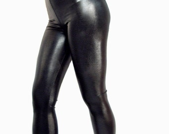 High waisted shiny wet look spandex leggings Goth Clubwear black silver gold