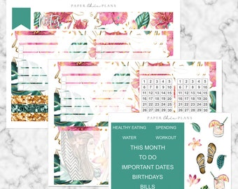 Tropical // Notes Page Kit - NEW 2019 Erin Condren Vertical Life Planner