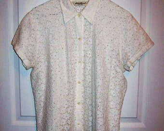 Vintage Ladies Off White Lace Short Sleeve Blouse by Eddie Bauer Large Only 7 USD