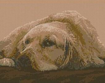 "Golden Retriever Counted Cross Stitch Kit 14"" x 7.25"""