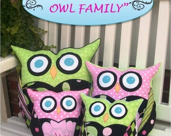 Sew Wise Owl Family Pillow or Bookend PDF Pattern  Easy Child Safe Tutorial 3 sizes  by FootLooseFancyFree on Etsy Housewares