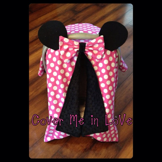 Minnie Mouse Car seat canopy pink and white polka dot cotton with black minky inside  sc 1 st  Etsy & Minnie Mouse Car seat canopy pink and white polka dot cotton