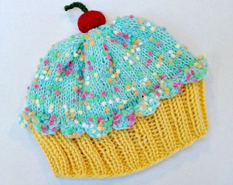 Cupcake Hat with Cherry on Top Lemon Yellow Cake Lime Green Frosting with Sprinkles - baby toddler children adult 3 6 9 12 18 months