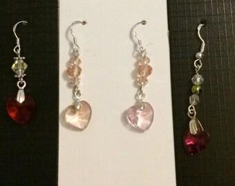 Swarovski Heart Sterling Silver Earrings