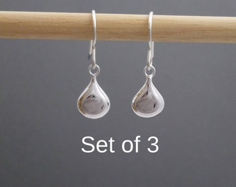 Bridesmaid Earrings. SET Of 3. FREE SHIPPING. Small Silver Teardrop Earrings. Simple Silver Sterling Drop Puff Oval Dangles. Wedding Jewelry