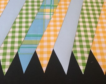 KIT #35 (2pk) Peaceful Plaid 15' Oilcloth Pennant Banners Bunting Party Shower Camper Photo Prop