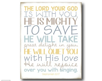 Mighty to Save | Zephaniah 3:17 - Christian Art Print