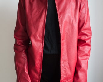 Womens 90s Vintage Vibrant Red Faux Leather Jacket