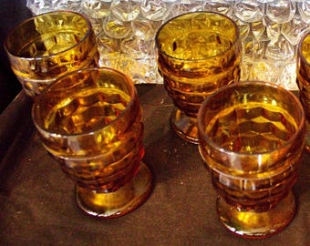 INDIANA Glass AMBER American WHITEHALL Pattern Glass 10 Ounce Tumbler -Set of 4