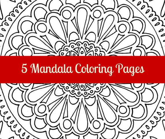 FIVE Mandala coloring pages adult coloring colouring book