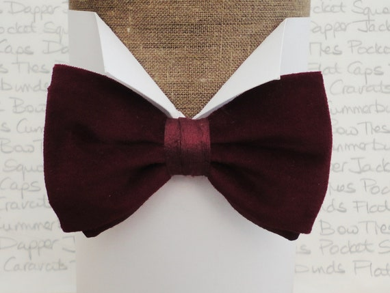 Burgundy cotton velvet and silk pre tied bow tie