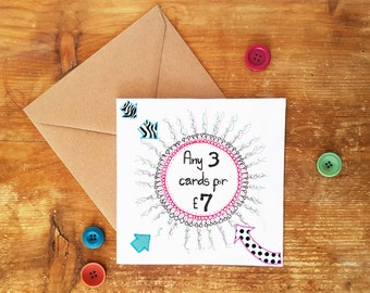ANY 3 GREETING CARDS - card pack, greetings cards, sale cards, card deal, special offer, card variety pack, card set, card pack, selection