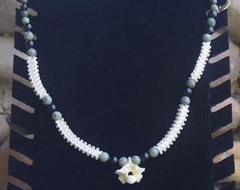 Snake vertebrae and stone necklace