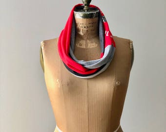 Ohio State Buckeyes T Shirt Scarf Womens Tee Scarf Infinity Scarf Recycled Accessories Cotton Handmade Gift Idea ohzie