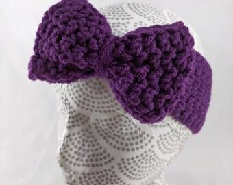 Girls Bow Earwarmer, Purple Bow Earwarmer, Big Bow Headband, Children's Crocheted Headband