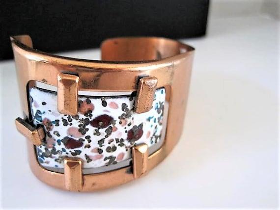 Matisse Renoir Bracelet, White Enamel on Copper Cuff, Vintage Wide Copper Bangle