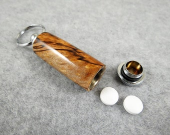 Wood Pill Box, Pill Holder, Wood Key Ring, Secret Compartment, Handcrafted, Spalted Maple Wood with Chrome Hardware