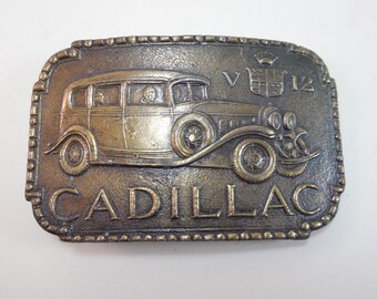 Vintage Cadillac V12 Belt Buckle Antique 1920's 1930's Cadillac V12 Car Automobile Brass Tone Metal Belt Buckle 1970's