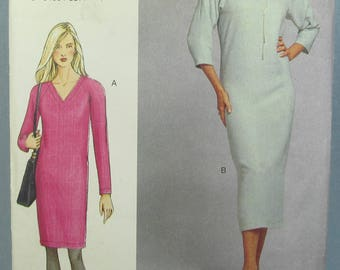 Loose Fitting Straight Or Tapered Dress Mock Bands Back Zipper Size 12 14 16 Sewing Pattern Vogue 7406