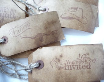 Western Hang Tags, 10 Primitive Tags, Coffee Stained, Large Hang Tags, Gift Tags, Wedding, Unique Tags, Handmade, Western Theme, Cowboy Tag