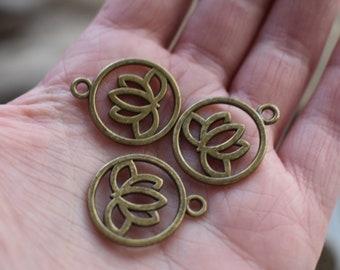 Antique Brass Lotus Charm - Metal Charm Flower Pendant  - Framed Lotus Boho Ethnic Charm - New pack of 15