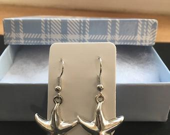 Starfish #2 Earrings - Silver Earrings - Dangle Earrings