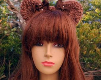 Brown Fuzzy Bear Ear Headband
