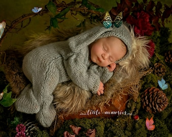 Bunny Baby Newborn Overalls Knitted set with hat photo prop