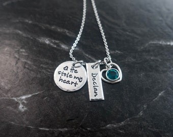 Mother Son Jewelry / He stole my heart / Mother Son Necklace  / New Mom Necklace / Personalized Necklace / Hand Stamped Mommy Jewelry