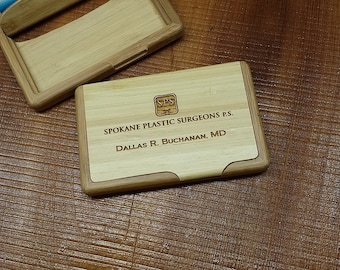 Custom Personalized Engraved Bamboo Business Card Holder  Business Card Case