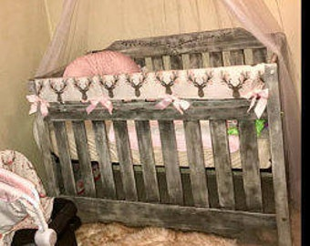 Teething Crib Rail Cover in Going Stag-Floral Fawn
